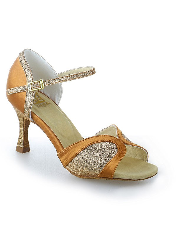 Classical Women Satin Stiletto Heel Peep Toe Buckle Sparkling Glitter Dance Shoes
