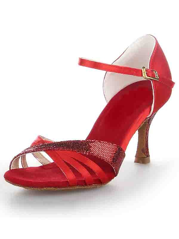 Classical Women Stiletto Heel Satin Peep Toe Buckle Dance Shoes