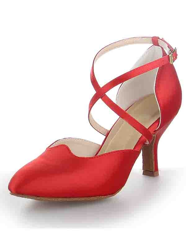 New Women Satin Stiletto Heel Close Toe Buckle Dance Shoes