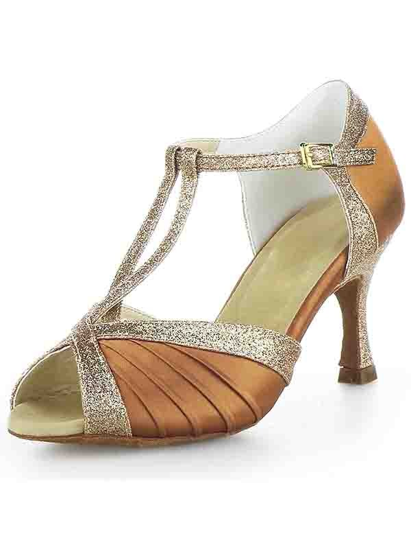 New Women Stiletto Heel Satin Peep Toe Buckle Sparkling Glitter Dance Shoes