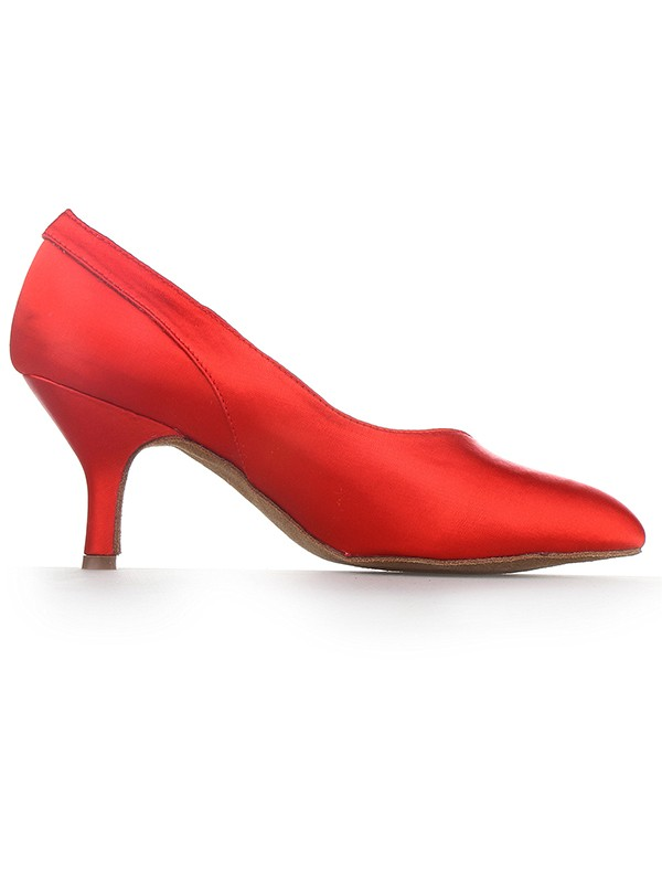 Stylish Women Red Closed Toe Cone Heel Satin High Heels