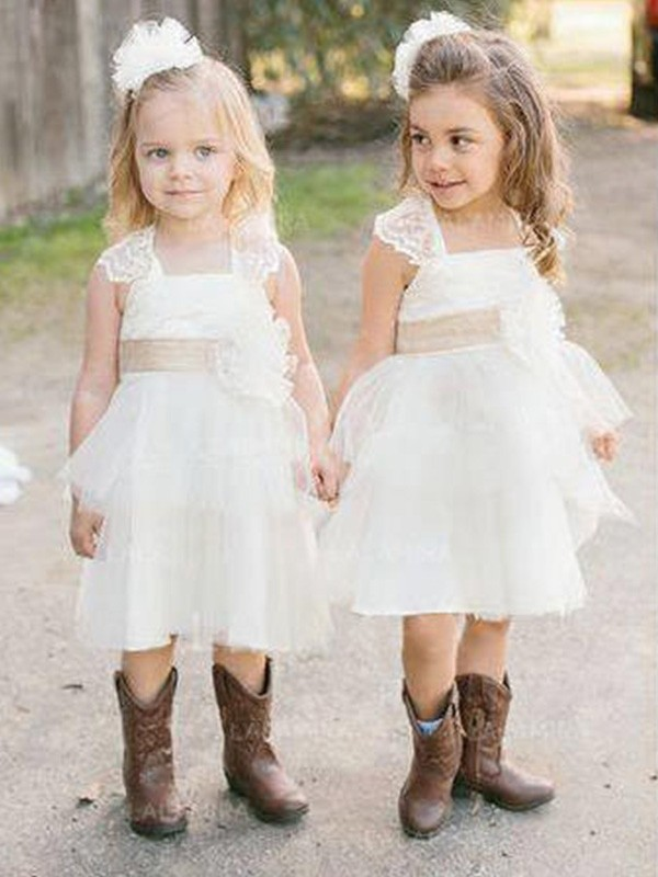 Stunning A-Line Sleeveless Square Knee-Length Tulle Flower Girl Dress