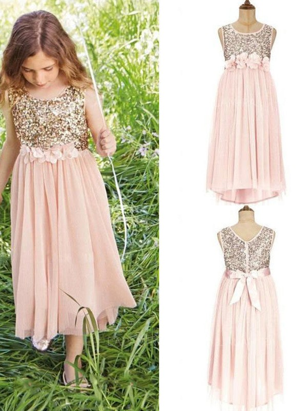 Perfect A-Line Sleeveless Scoop Asymmetrical Sequin Chiffon Flower Girl Dress