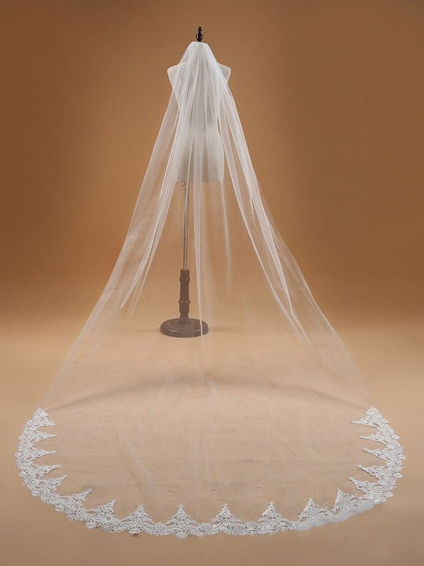 Affordable Tulle With Lace Wedding Veil
