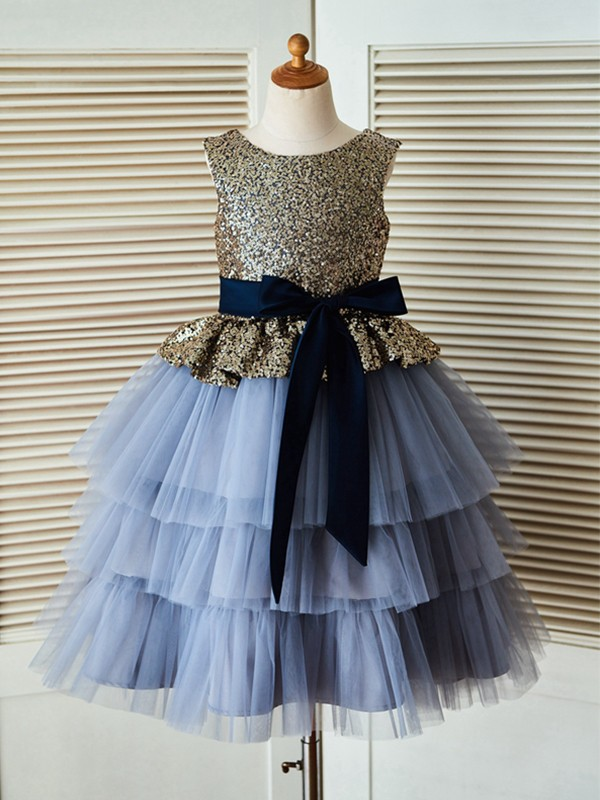 Fashion A-Line Tea-Length Scoop Sequin Sleeveless Tulle Flower Girl Dress