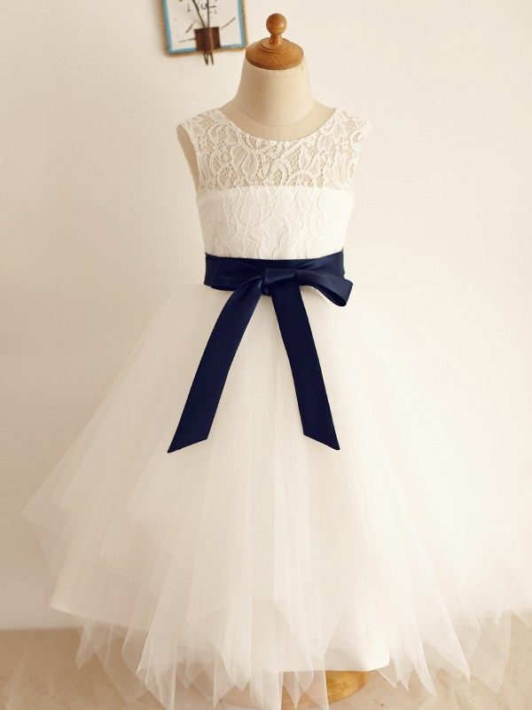 Beautiful A-Line Tulle Scoop Sleeveless Tea-Length Flower Girl Dress