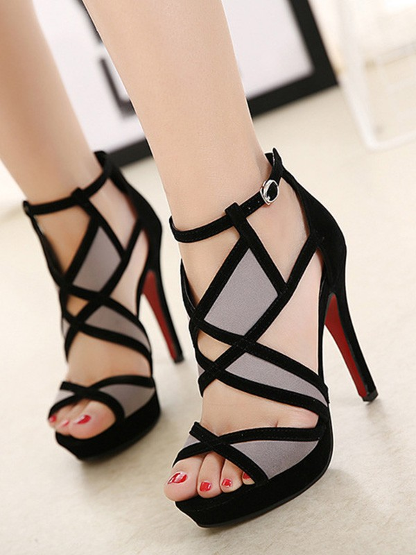 New Women Girls Hollow-out Stiletto Heel Peep Toe Sandals