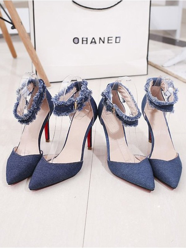 New Women Girls Jean Stiletto Heel Closed Toe Sandals