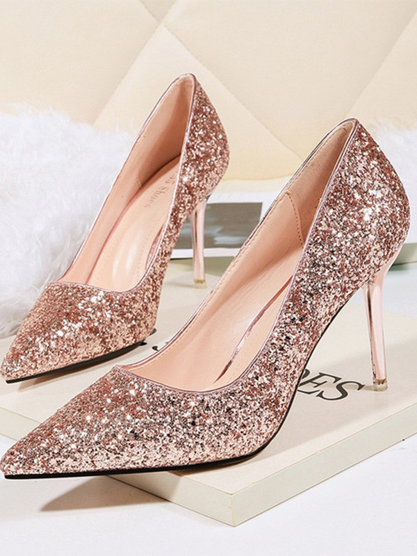 New Women Girls Stiletto Heel Sparkling Glitter Closed Toe High Heels