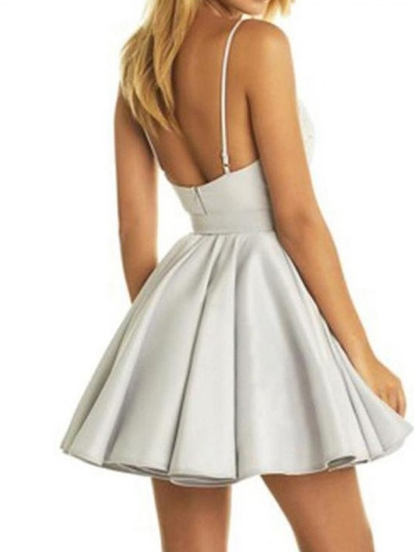 Elegant A-Line V-Neck Sleeveless Satin Short/Mini Dress