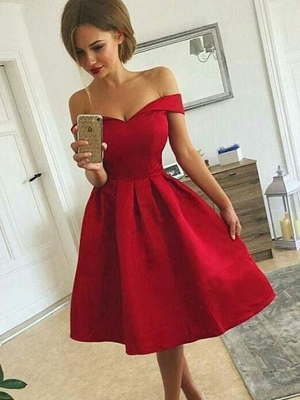 Stylish A-Line Satin Off-the-Shoulder Sleeveless Knee-length Dress
