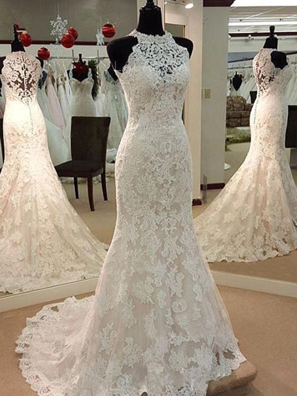 Fashion Sheath Sleeveless Scoop Sweep/Brush Train Lace Wedding Dress