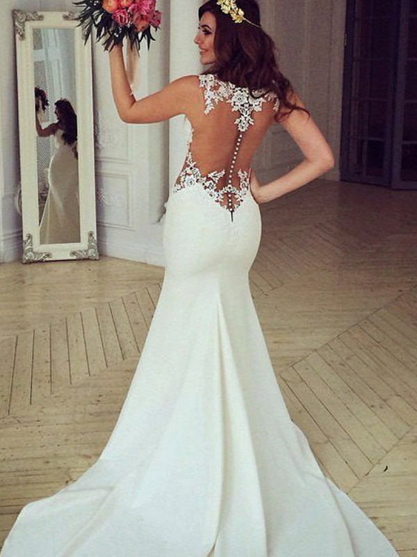 Charming Mermaid Scoop Sleeveless Sweep/Brush Train Lace Wedding Dress