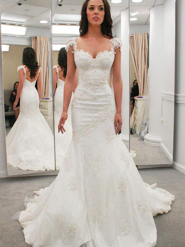 New Mermaid Sweetheart Short Sleeves Chapel Train Lace Wedding Dress