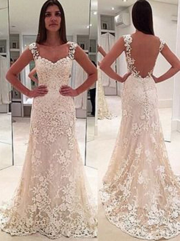Nice Sheath Straps Sleeveless Court Train Sweetheart Lace Wedding Dress