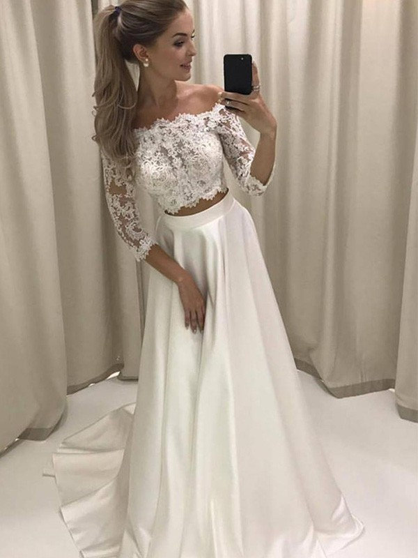 Cheap A-Line 3/4 Sleeves Off-the-Shoulder Court Train Satin Wedding Dress