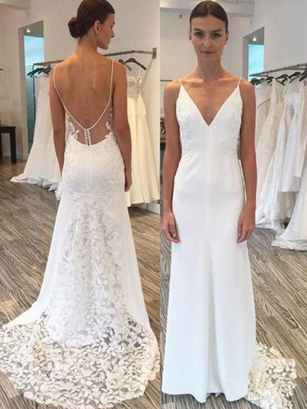 Stylish Sheath Satin Lace Spaghetti Straps Sleeveless Sweep/Brush Train Wedding Dress
