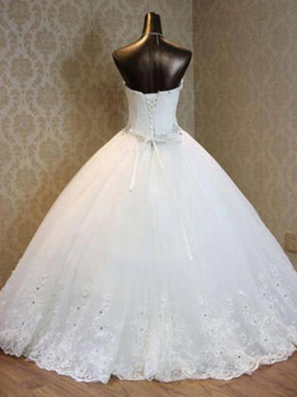 Nice Ball Gown Tulle Sweetheart Sleeveless Floor-Length Wedding Dress
