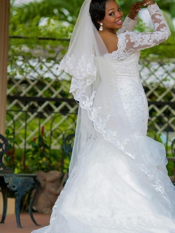 Perfect Mermaid Square Organza Long Sleeves Chapel Train Wedding Dress