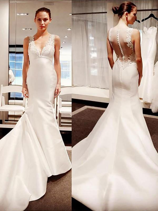 Discount Mermaid V-neck Satin Sleeveless Court Train Wedding Dress