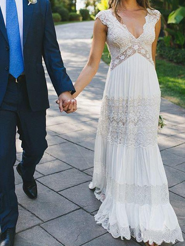 Beautiful A-Line Lace V-neck Short Sleeves Floor-Length Wedding Dress