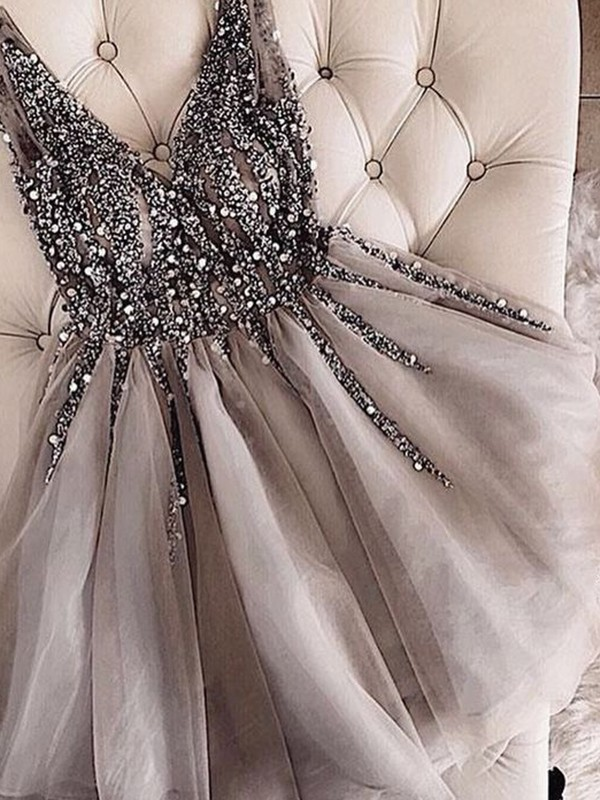 Beautiful A-Line V-neck Tulle Sequin Short Dress