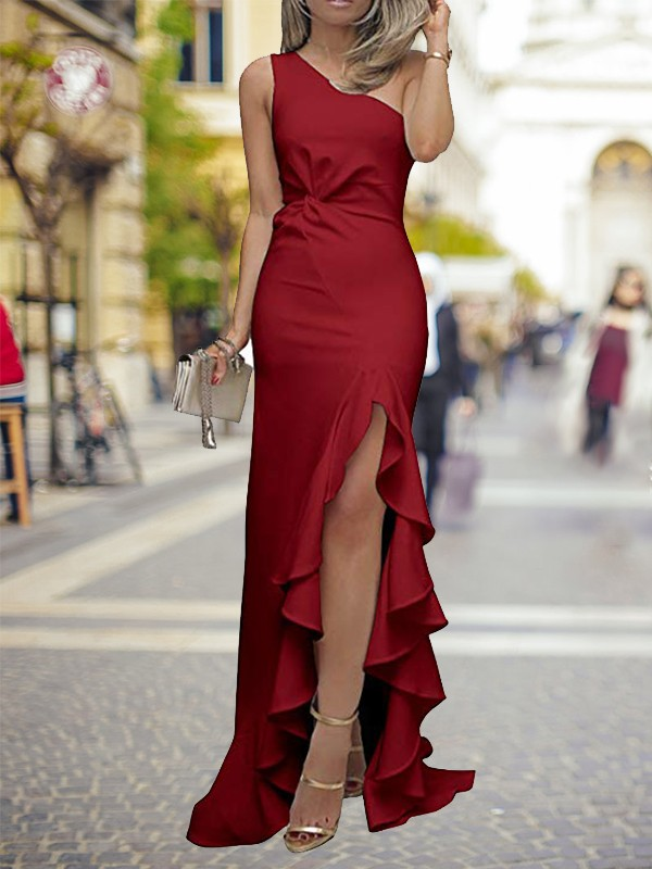 Chic Sheath One-Shoulder Sweep/Brush Train Silk like Satin Dress