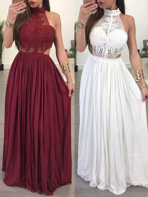 Glamorous A-Line Sleeveless Halter Floor-Length Chiffon Lace Dress