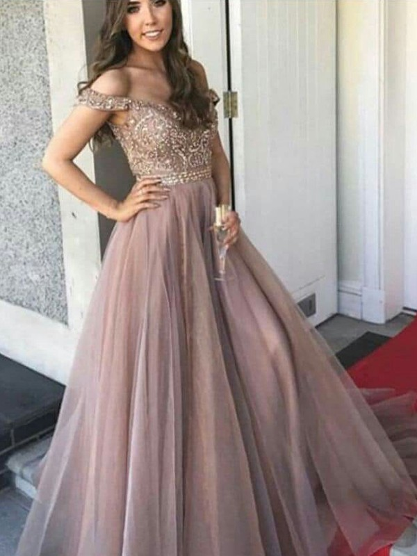 Discount A-Line Sleeveless Off-the-Shoulder Floor-Length Tulle Dress