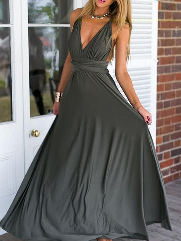 Charming Empire Sleeveless V-neck Floor-Length Chiffon Dress