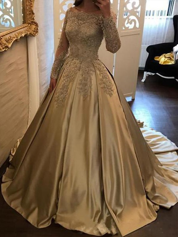Charming Ball Gown Long Sleeves Off-the-Shoulder Sweep/Brush Train Satin Dress