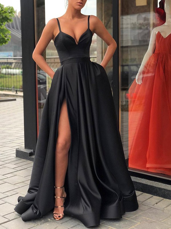 Exquisite A-Line Sleeveless Straps Sweep/Brush Train Satin Dress