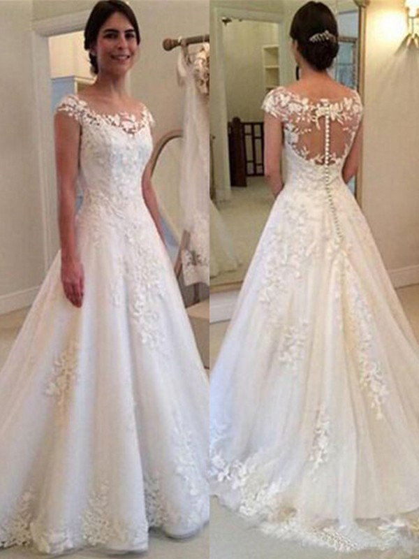 Exquisite A-Line Scoop Sleeveless Sweep/Brush Train Lace Tulle Wedding Dress