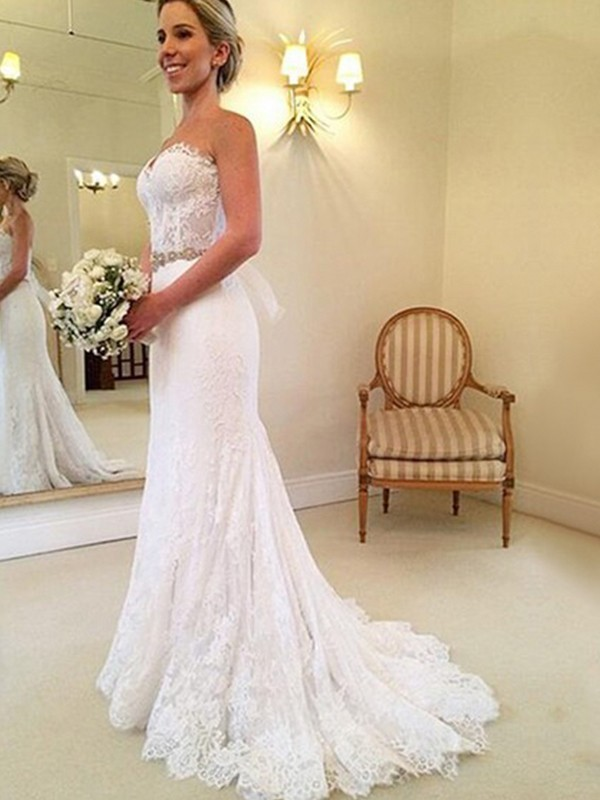 Exquisite Sheath Sweetheart Sleeveless Sweep/Brush Train Lace Wedding Dress