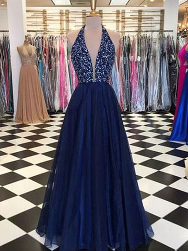 Amazing A-Line Halter Sleeveless Floor-Length Tulle Dress