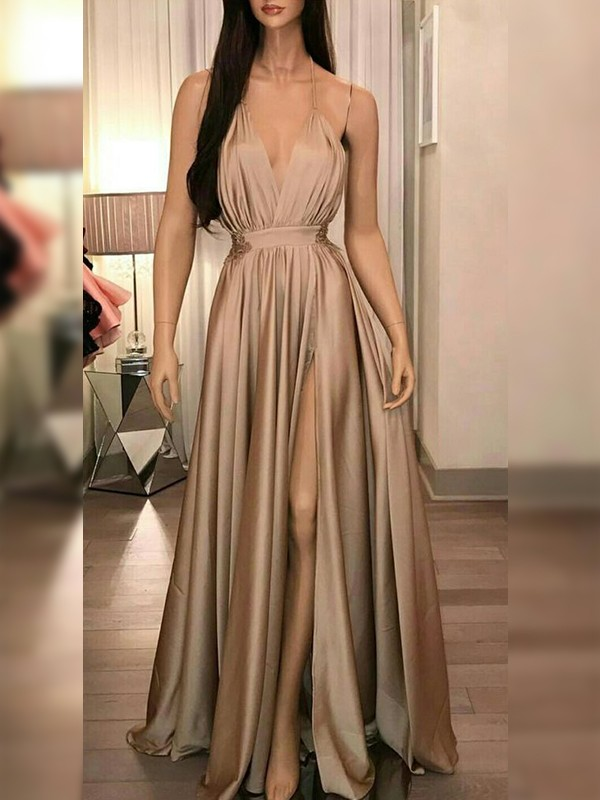 Glamorous A-Line Silk like Satin Spaghetti Straps Sleeveless Floor-Length Dress