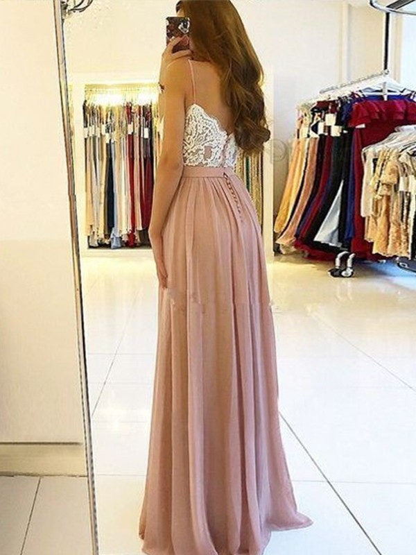 Stunning A-Line Sleeveless Spaghetti Straps Floor-Length Chiffon Dress