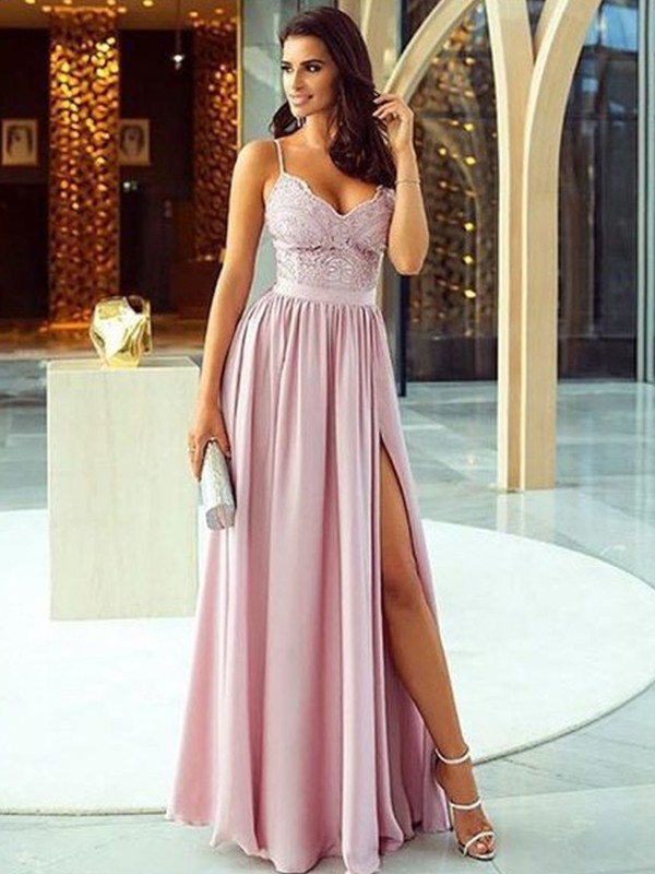 Perfect A-Line Sleeveless Spaghetti Straps Floor-Length Silk like Satin Dress
