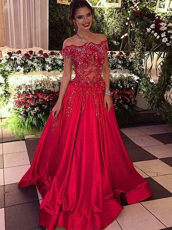 Beautiful Ball Gown Off-the-Shoulder Sleeveless Sweep/Brush Train Satin Dress