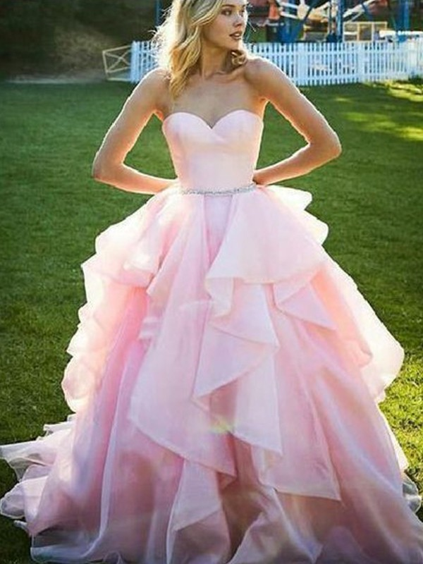 Beautiful Ball Gown Sleeveless Sweetheart Floor-Length Organza Dress