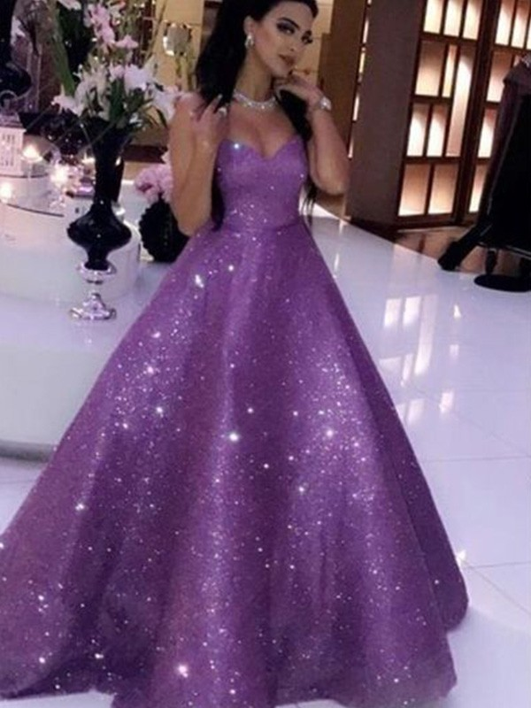 Gorgeous Ball Gown Sequins Sweetheart Sleeveless Sweep/Brush Train Dress
