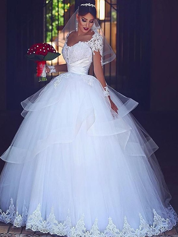 Perfect Ball Gown Sweetheart Long Sleeves Floor-Length Lace Tulle Wedding Dress