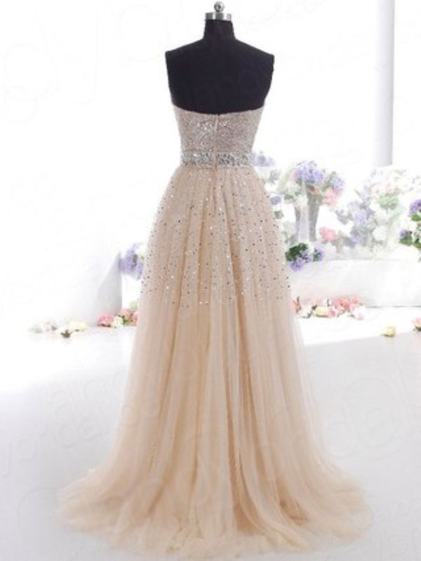Cheap A-Line Sweetheart Tulle Sleeveless Sweep/Brush Train Dress