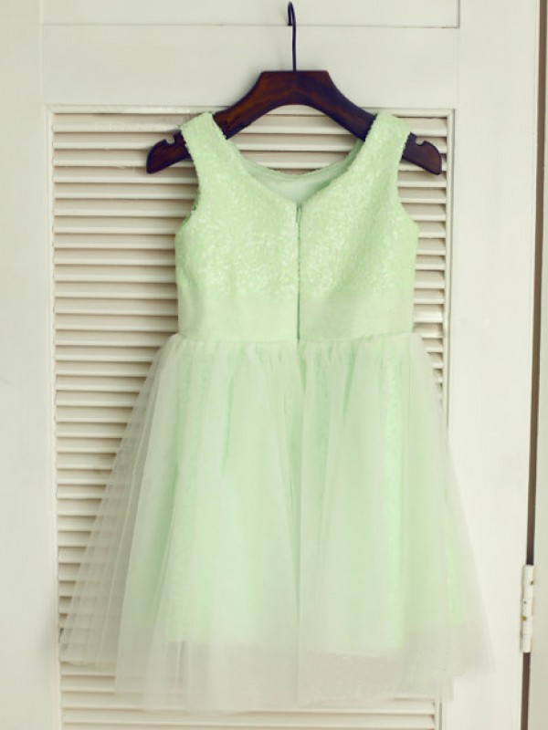 Exquisite A-line Scoop Tea-length Tulle Flower Girl Dress