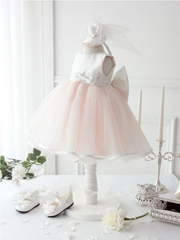 Charming Ball Gown Jewel Tea-length Organza Flower Girl Dress
